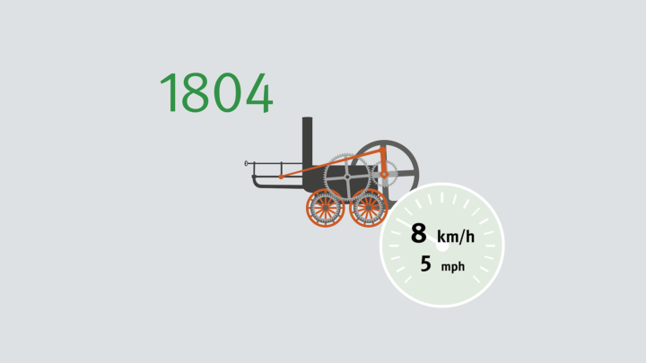 The first locomotive was developed by Richard Trevithick. In February 1804, the steam locomotive that's used to haul iron achieves a speed of 8 km/h in Wales.