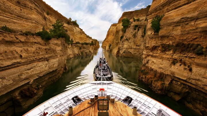 A spectacular site: the Corinth Canal lined by rock walls