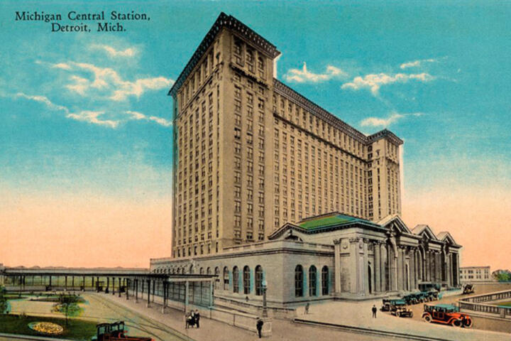 Michigan Central Station in the year of its inauguration