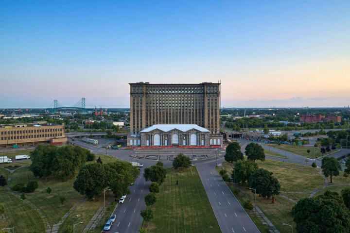 The current view of Michigan Central Station's north side ...