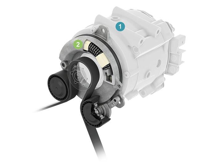 """<strong>1 </strong>Der Riemenstarter-Generator (RSG) ersetzt Anlasser und Lichtmaschine, unterstützt den Verbrennungsmotor beim Anfahren (""""Boosten"""")und ermöglicht bei komplett ausgeschaltetem Verbrennungsmotor das """"Segeln"""" des Fahrzeugs <br/><strong>2</strong> Entkopplungsspanner, auch Ringspanner genannt: Er sorgt mithilfe einer Bogenfeder und zwei Spannrollen für die erforderliche Spannung und Dämpfung des Keilrippenriemens in beide Kraftflussrichtungen"""