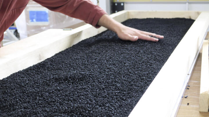 Biocarbon granulate stores three times more Carbon dioxide equivalent than it weighs and can be used in many types of construction materials ...