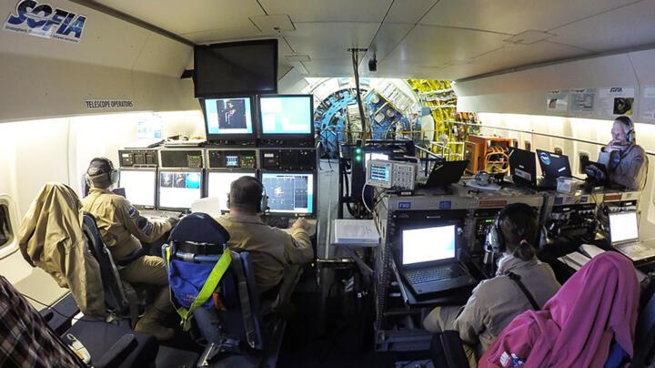 Im ehemaligen unteren Passagierbereich befinden sich die Arbeitsplätze der Astronomen und ein Bereich für Gäste (insgesamt maximal 30 Personen). Im hinteren Bereich zu erkennen: das Schott, das den offenen Teleskopbereich von der Kabine trennt, samt Teleskopaufhängung (blau) und vorgeflanschtem Messgerät