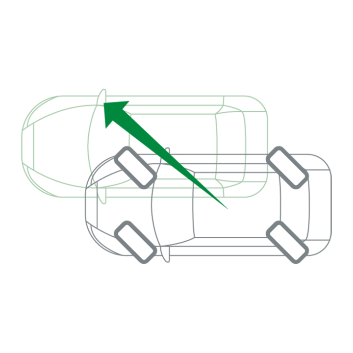 Traversal driving with a 45° steering angle on all wheels
