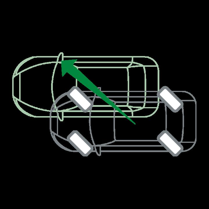 Traversales Fahren mit 45° Lenkwinkel an allen Rädern