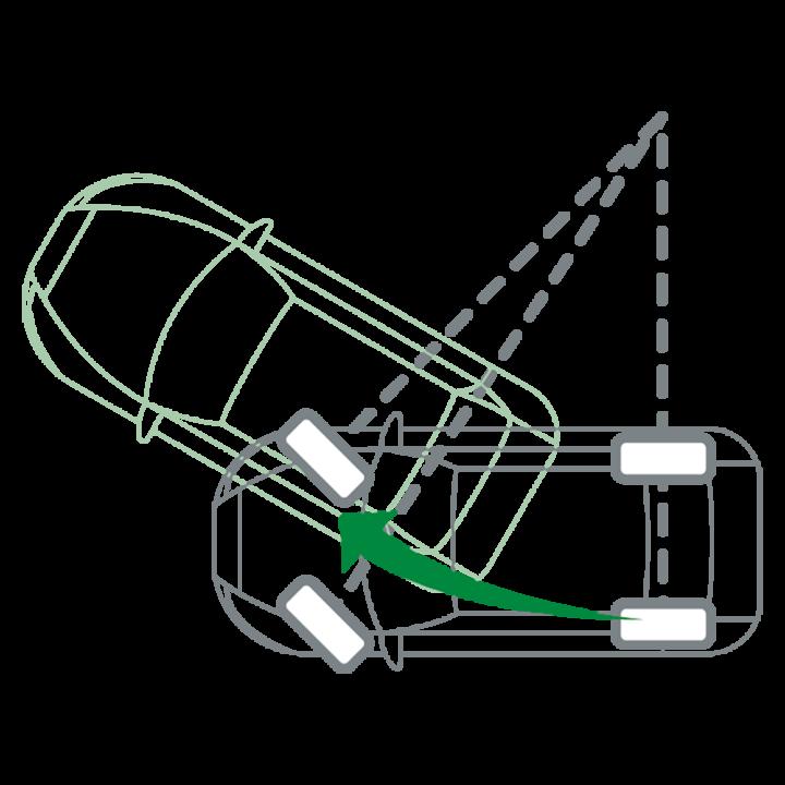 Klassisches Einlenken für Kurvenfahrt