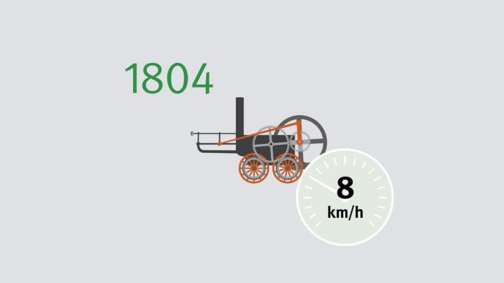 Die erste Lokomotive stammt von Richard Trevithick. Im Februar 1804 erreicht die Dampflok, die dem Eisentransport dient, in Wales ein Tempo von 8 km/h.