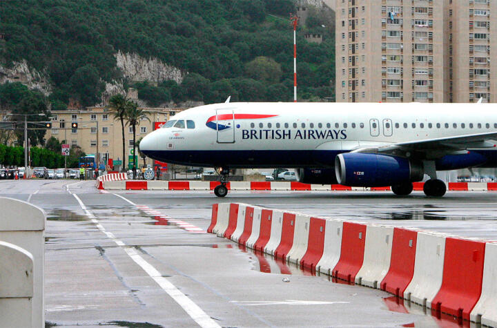 <strong>Gibraltar </strong>– when a passenger jet approaches or takes off there the British colony is cut off from the Spanish mainland because cars or pedestrians have to cross the runway in order to enter or leave the enclave.