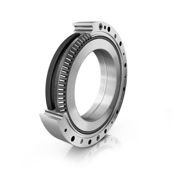 <strong>1. Schrägrollenlager:</strong> Das neue Schrägnadellager XZU von Schaeffler kommt in Leichtbaurobotern und Cobots sowohl als Gelenkarmlager als auch als Hauptlagerung für das neue Präzisionsgetriebe DuraWave von Schaeffler zum Einsatz. XZU reduziert die Reibung um 20% und ist 30% steifer als bisher genutzte Kreuzrollenlager.
