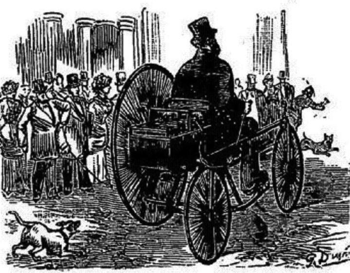 """<strong>1881</strong><br/>Dieses Trike – zwei kleine Räder rechts, ein großes links– gilt als das """"Ur-Elektroauto"""": Erbauer Gustave Trouvé erreicht damit 1881 aus heutiger Sicht beschauliche 12 km/h."""